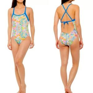 ADIDAS • Solace Print 1PC Tie Back Swimsuit • 26